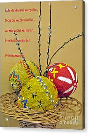 Lt Easter Greeting. Lithuanian Text 01 Acrylic Print by Ausra Huntington nee Paulauskaite