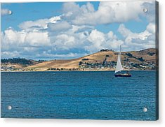 Luxury Yacht Sails In Blue Waters Along A Summer Coast Line Acrylic Print by Ulrich Schade