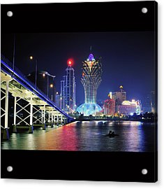 Macau City At Night Acrylic Print by Thank you for choosing my work.