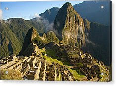 Machu Picchu And Fog In Morning Acrylic Print by Matt Champlin