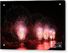 Macy's Fireworks On The Hudson Acrylic Print by Living Color Photography Lorraine Lynch
