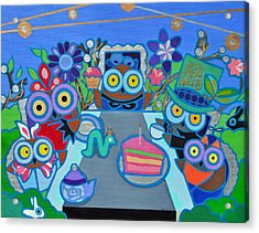 Mad Owls Tea Acrylic Print by Jenny Valdez