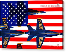 Made In The Usa . Blue Angels Acrylic Print by Wingsdomain Art and Photography