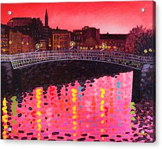 Magenta Evening Dublin Acrylic Print by John  Nolan