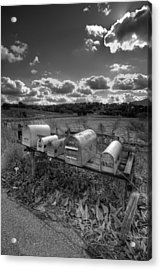 Mailboxes - Black  And White Acrylic Print by Peter Tellone