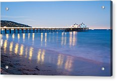 Malibu Pier Reflections Acrylic Print by Adam Pender