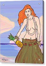 Maluhia Hula Girl Acrylic Print by William Depaula