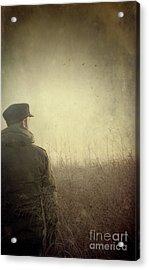 Man Alone In Autumn Field Acrylic Print by Sandra Cunningham