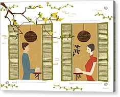 Man And Woman Drinking Coffee View From Window Acrylic Print by Eastnine Inc.