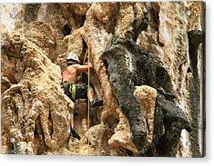 Man Climbing Rock Acrylic Print by Ulrike Maier