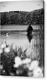 Man Flyfishing In A Lake In Ireland Acrylic Print by Joe Fox
