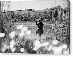 Man Flyfishing On Lake In Ireland Acrylic Print by Joe Fox