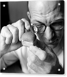 Man Looking At Miniture Loaf Of Bread Through Magnifying Glass Acrylic Print by Hulton Archive
