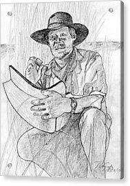 Man Pencil Portrait Acrylic Print by Rom Galicia