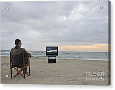 Man Watching Tv On Beach At Sunset Acrylic Print by Sami Sarkis