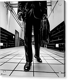 Man With Briefcase Acrylic Print by Giuseppe Cristiano