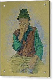 Man With Harmonica Acrylic Print by Kat At illustraat