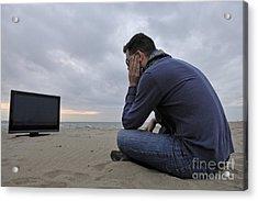 Man With Tv On Beach At Sunset Acrylic Print by Sami Sarkis
