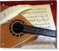 Mandolin And Partiture Acrylic Print by Carlos Caetano