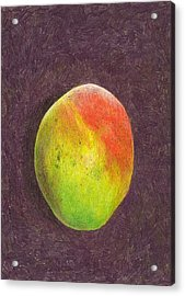 Mango On Plum Acrylic Print by Steve Asbell