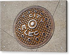 Manhole Cover In Chicago Acrylic Print by Mark Williamson