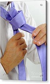 Man's Hands Adjusting Tie Acrylic Print by Sami Sarkis