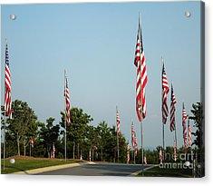 Many American Flags Acrylic Print by Renee Trenholm