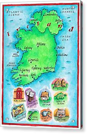Map Of Ireland Acrylic Print by Jennifer Thermes