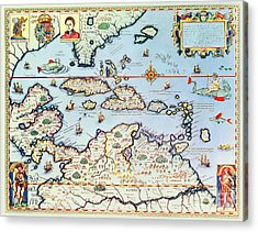 Map Of The Caribbean Islands And The American State Of Florida Acrylic Print by Theodore de Bry
