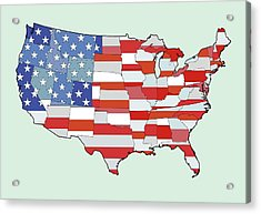 Map Of United States Of America Depicting Stars And Stripes Flag Acrylic Print by Atomic Imagery