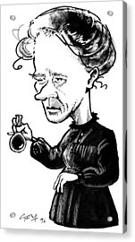 Marie Curie, Caricature Acrylic Print by Gary Brown