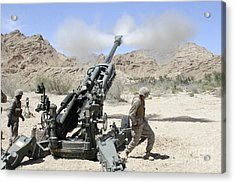 Marines Shoot 100-pound Rounds Acrylic Print by Stocktrek Images