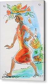 Market Woman Acrylic Print by Carey Chen