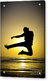 Martial Arts Silhouette Acrylic Print by Guy Viner