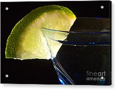 Martini Cocktail With Lime Wedge On Blue Glass Acrylic Print by ELITE IMAGE photography By Chad McDermott