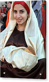 Mary And Baby Jesus At The Christmas March In Bethlehem Acrylic Print by Munir Alawi