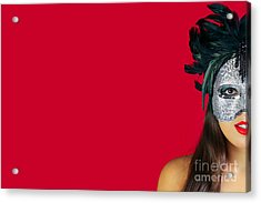 Masquerade Mask Red Background Acrylic Print by Richard Thomas