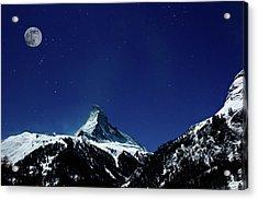 Matterhorn Switzerland Blue Hour Acrylic Print by Maria Swärd
