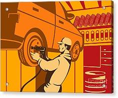 Mechanic Automotive Repairman Retro Acrylic Print by Aloysius Patrimonio
