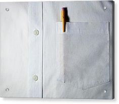 Mechanical Pencil In White Shirt Pocket. Acrylic Print by Ballyscanlon
