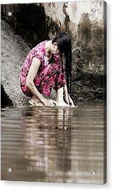 Mekong Delta Life Acrylic Print by Iris Van den Broek