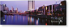Melbourne And The Yarra River At Dusk Acrylic Print by Jeremy Woodhouse