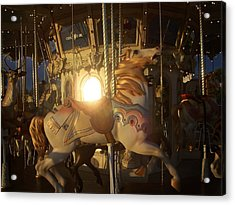 Merry Go Round At Sunset Acrylic Print by Steve Huang