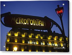 Metro Sign. Paris. France Acrylic Print by Bernard Jaubert