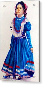 Mexco Srta In Blue Acrylic Print by Estela Robles