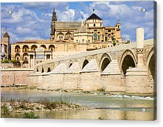 Mezquita Cathedral And Roman Bridge In Cordoba Acrylic Print by Artur Bogacki
