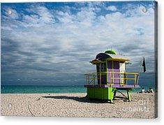 Miami 12th Street Beach  Acrylic Print by Barbara McMahon