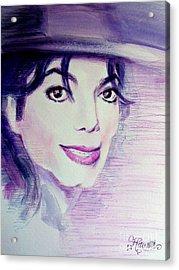 Michael Jackson - Purple Fedora Acrylic Print by Hitomi Osanai