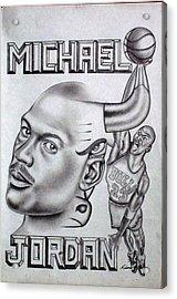 Michael Jordan Double Exposure Acrylic Print by Rick Hill