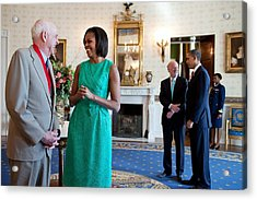 Michelle Obama Laughs With National Acrylic Print by Everett